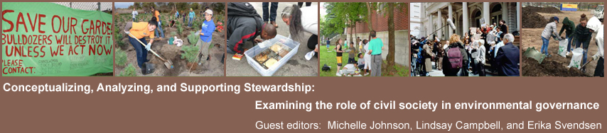 Conceptualizing, Analyzing, and Supporting Stewardship: Examining the role of civil society in  environmental governance