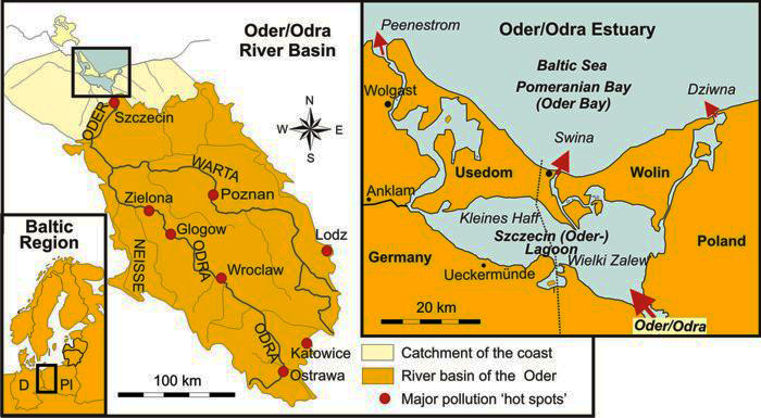Fig. 1. Oder/Odra river basin and estuary