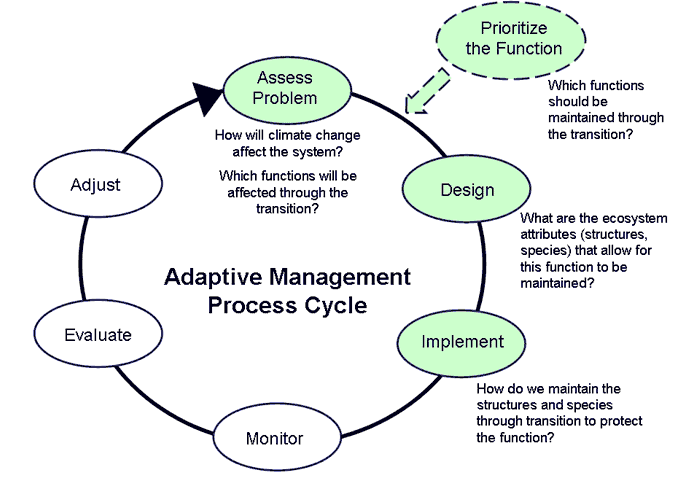 fig    conceptual diagram of the adaptive management cycle using    fig    conceptual diagram of the adaptive management cycle using the guided transition approach  within the adaptive management process cycle