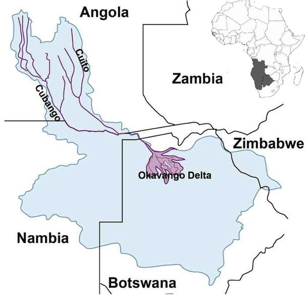 Fig. 1. Map of Okavango River Basin Okavango Basin Map