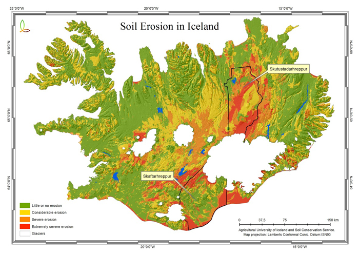 Fig. 1. General overview of soil erosion in Iceland§ and the ...