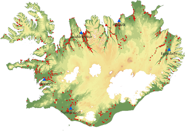 Fig. 1. Map of Iceland showing location of farms ...