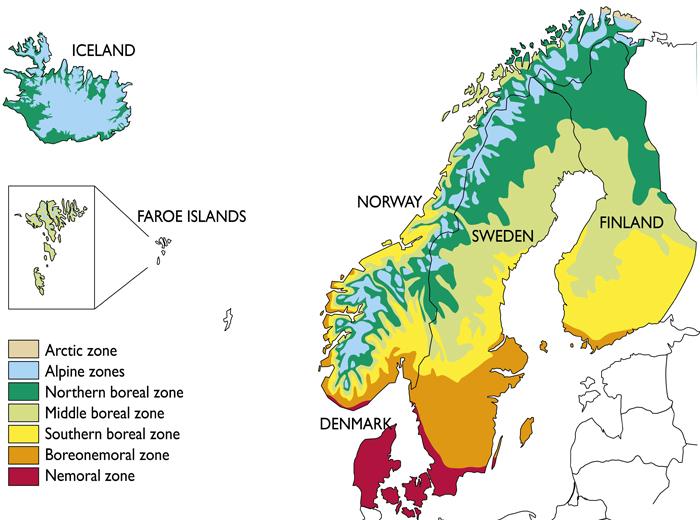 Fig The Study Area Includes Denmark Faroe Islands Finland - Norway vegetation map