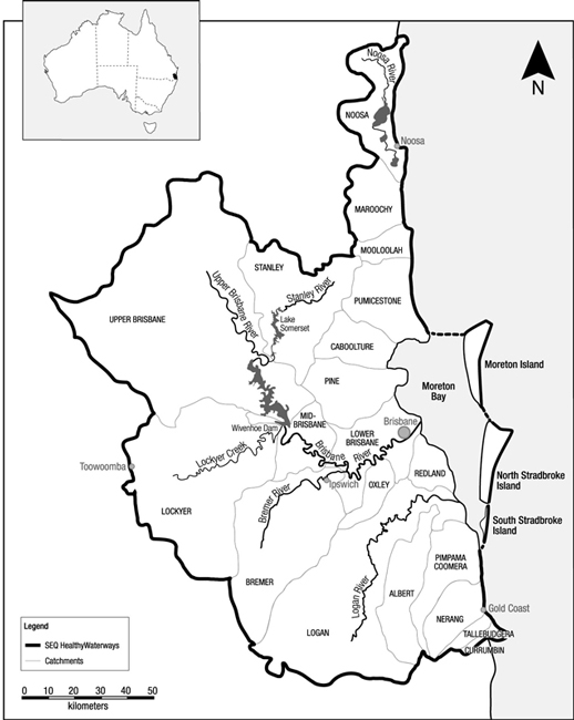 Fig  1  Map of the Southeast Queensland region, Australia, showing