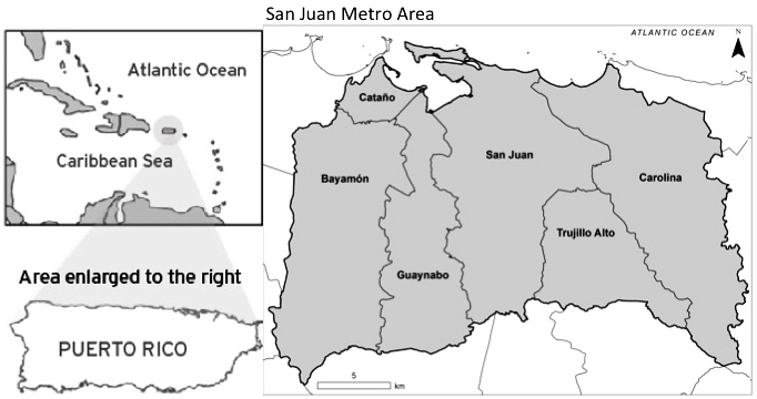 Fig 1 Map of Puerto Rico and the Caribbean left panel and the