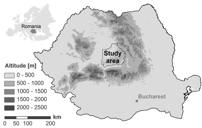 Fig. 2. Map of the study area in southern Transylvania, Romania, in Carpathian Mountains Map on