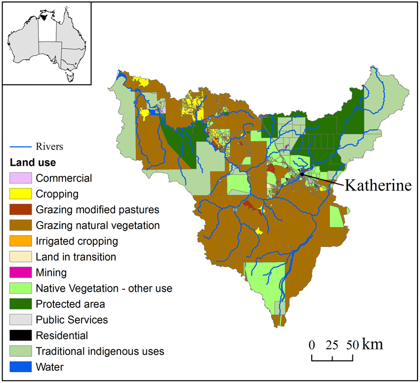 Fig. 1. Daly catchment property boundaries and land use as defined Inset Map Definition on prime meridian definition, valley definition, natural resources definition, historian definition, landform definition, behavior definition, equator definition, climate definition, grid definition, elevation definition, conquest definition, cutting edge definition, globe definition, plain definition, mountain definition, rule of thirds definition, boundary definition, compass rose definition, region definition, electrical power definition,