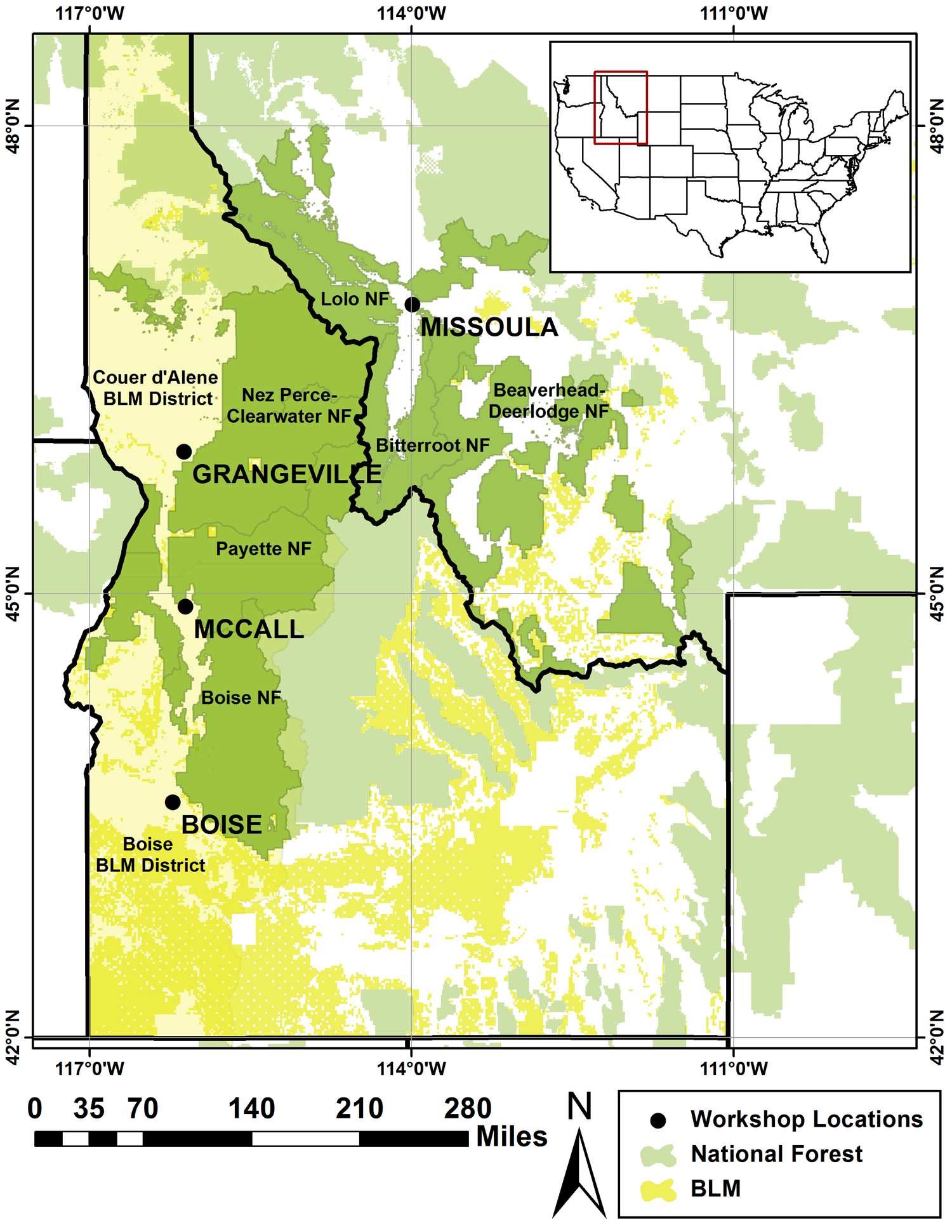 Fig 1 Map Of The Study Area Highlighting The National Forests