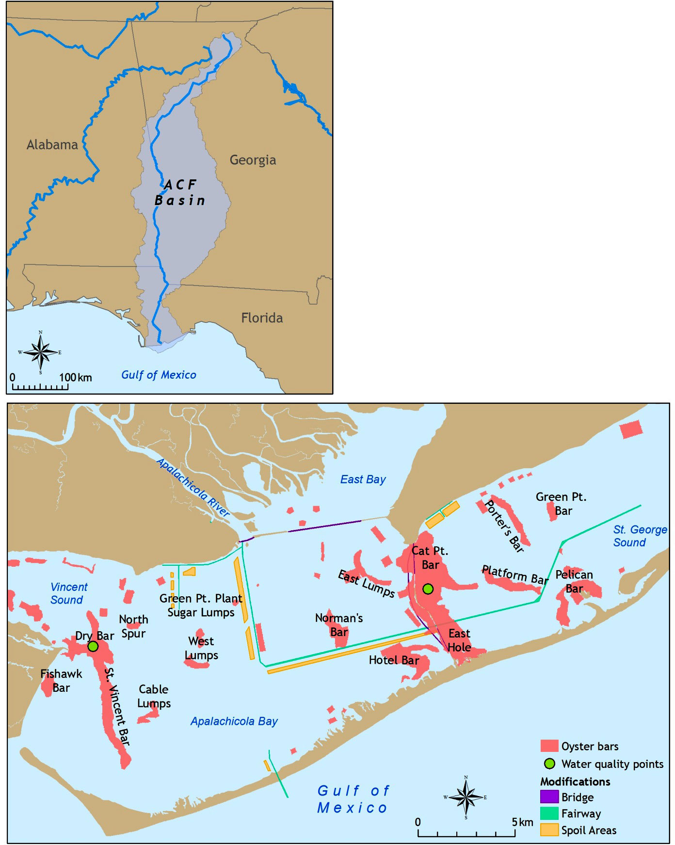 Apalachicola Florida Map.Fig 1 Map Of Apalachicola Bay Showing The Location Where The