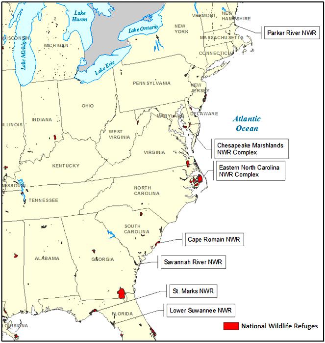 Fig. 1. Map of eastern National Wildlife Refuges. Refuges ...