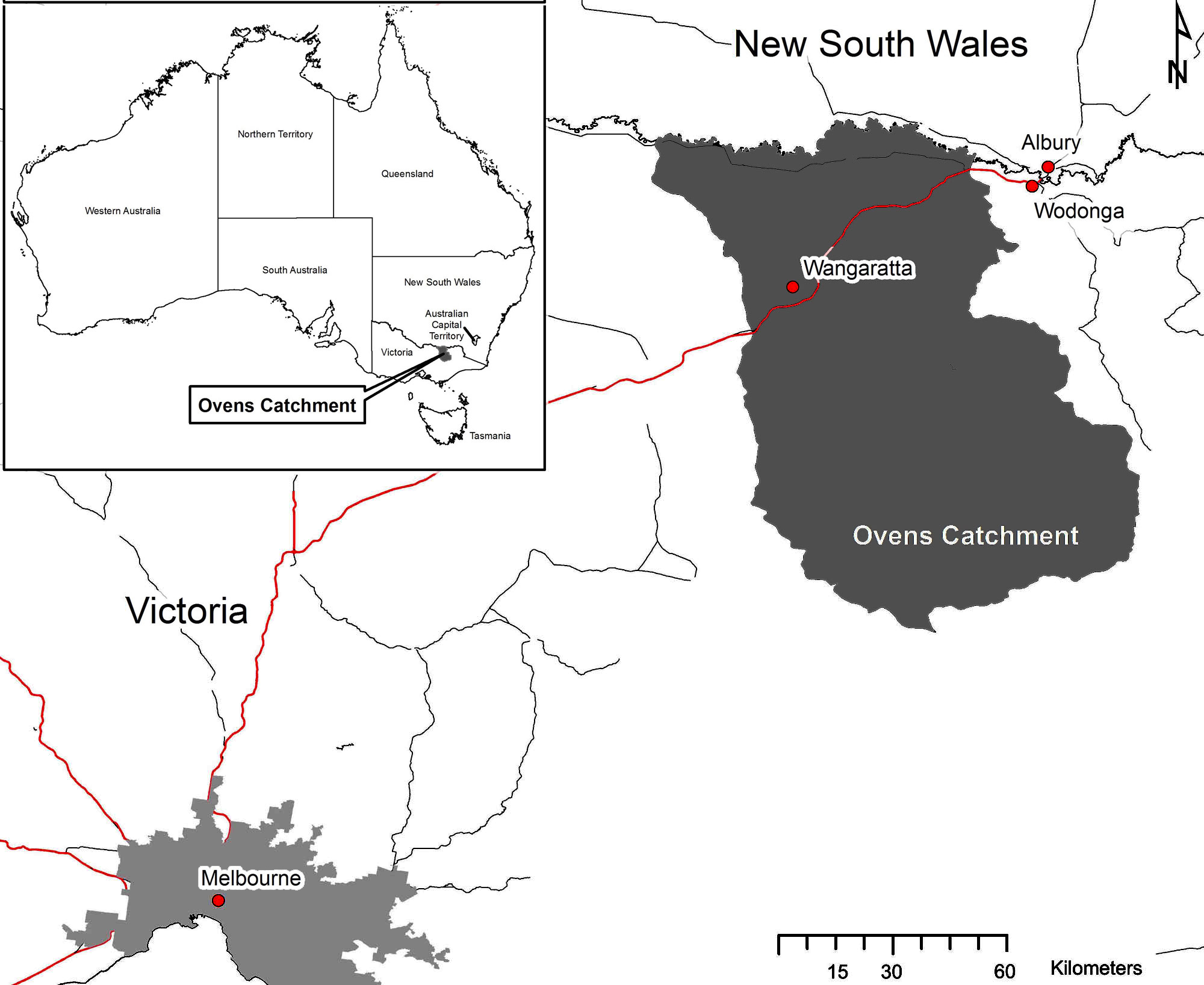 Victoria In Australia Map.Fig 2 Map Of Ovens Catchment Victoria Australia The Red Line Is