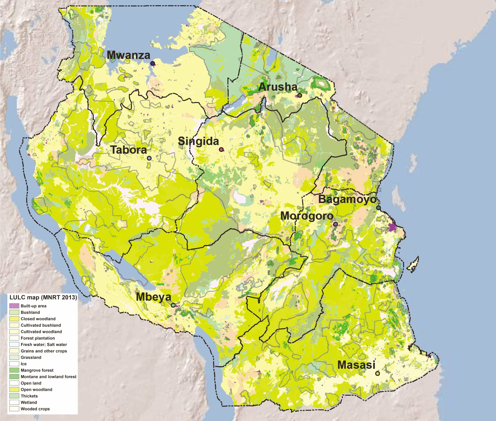 Fig 2 map of tanzania showing the units of analysis black lines the reference land use and land cover map mnrt 2013 is visible in the background shaded relief copyright esri 2014 gumiabroncs Images