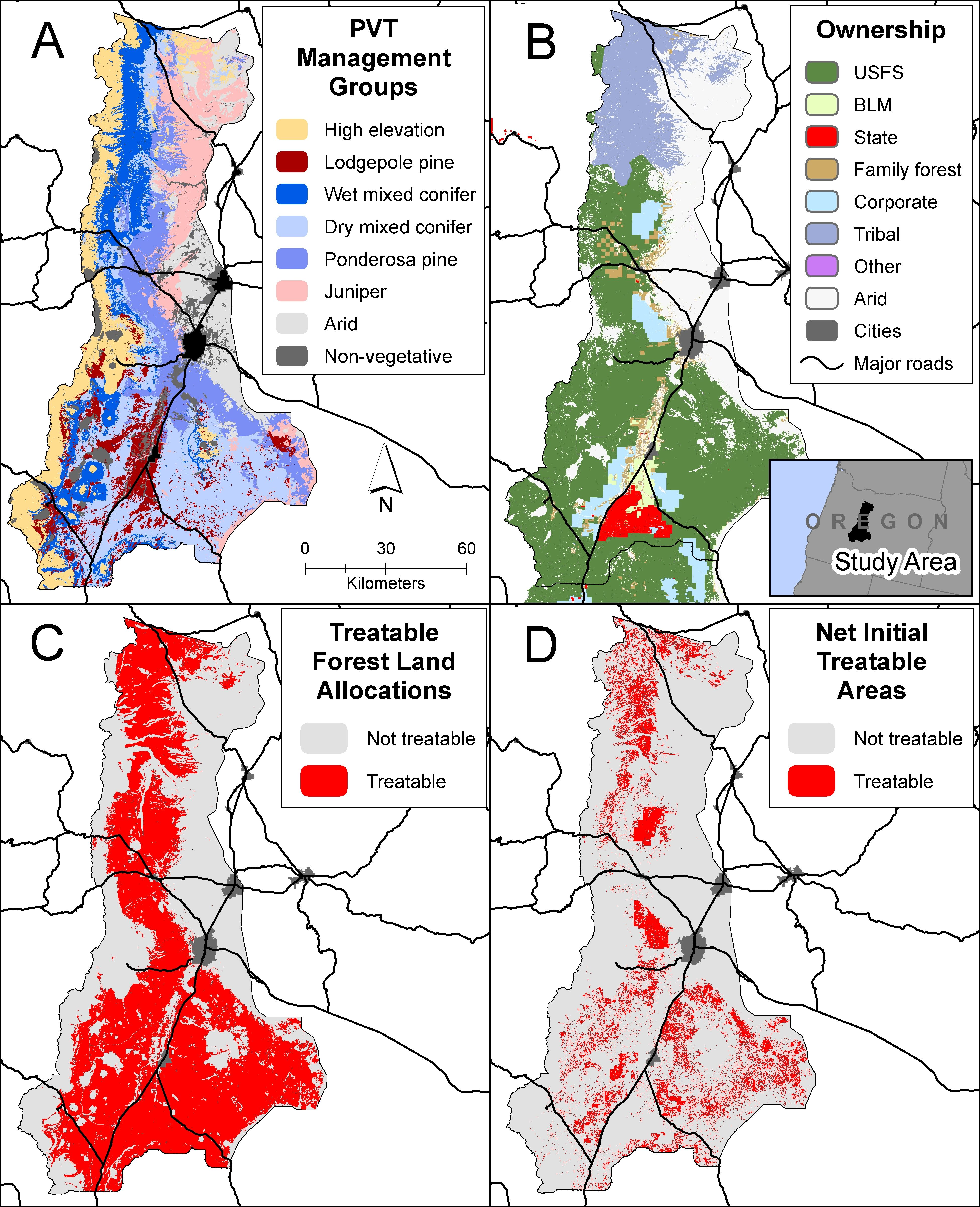 Fig 1 Maps of the study area in Oregon USA indicating vegetation