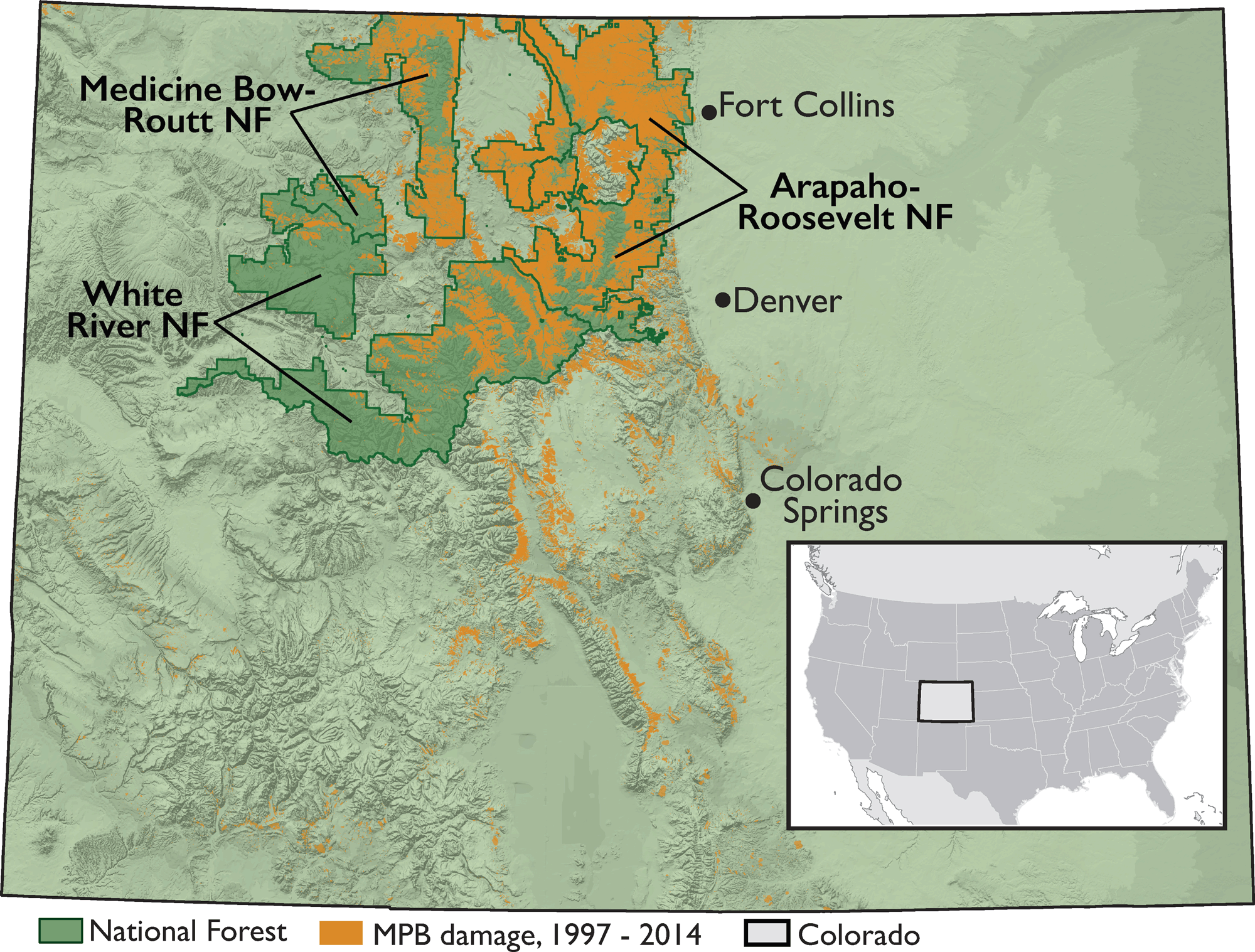 Fig. 2. Location of Arapaho-Roosevelt National Forest, Medicine Bow ...