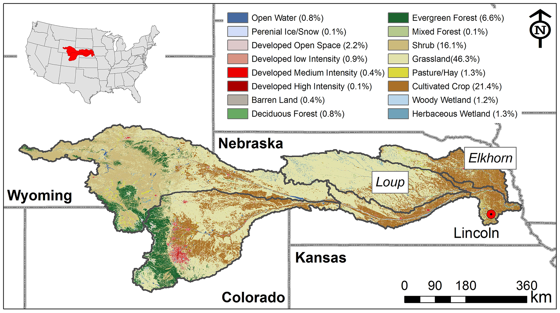 Fig 1 Land Use Map Of The Platte River Watershed Including Loup