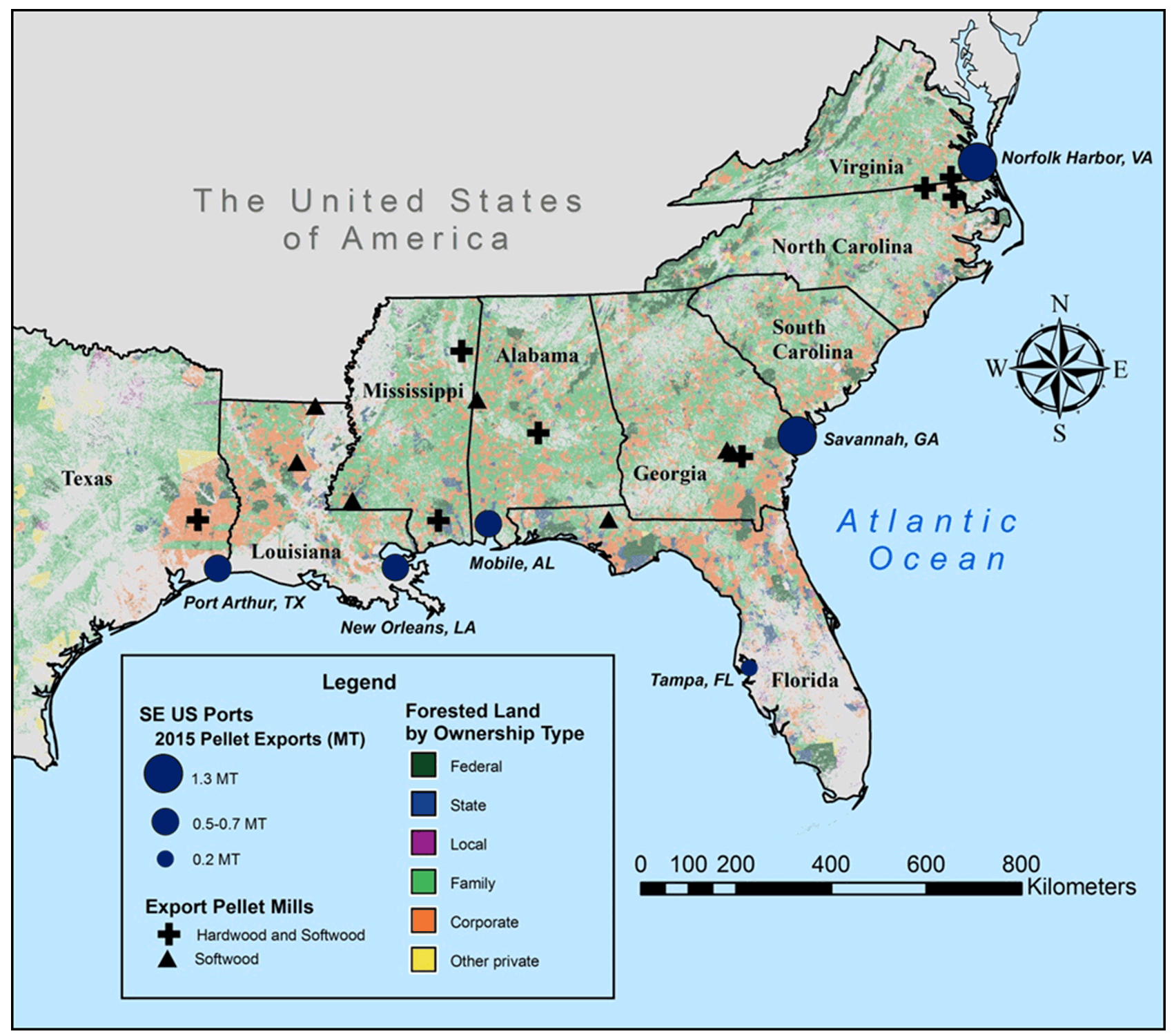 Fig 3 Map Of The Southeastern Us Sending System Nearly All 2015 - Map-of-us-forests