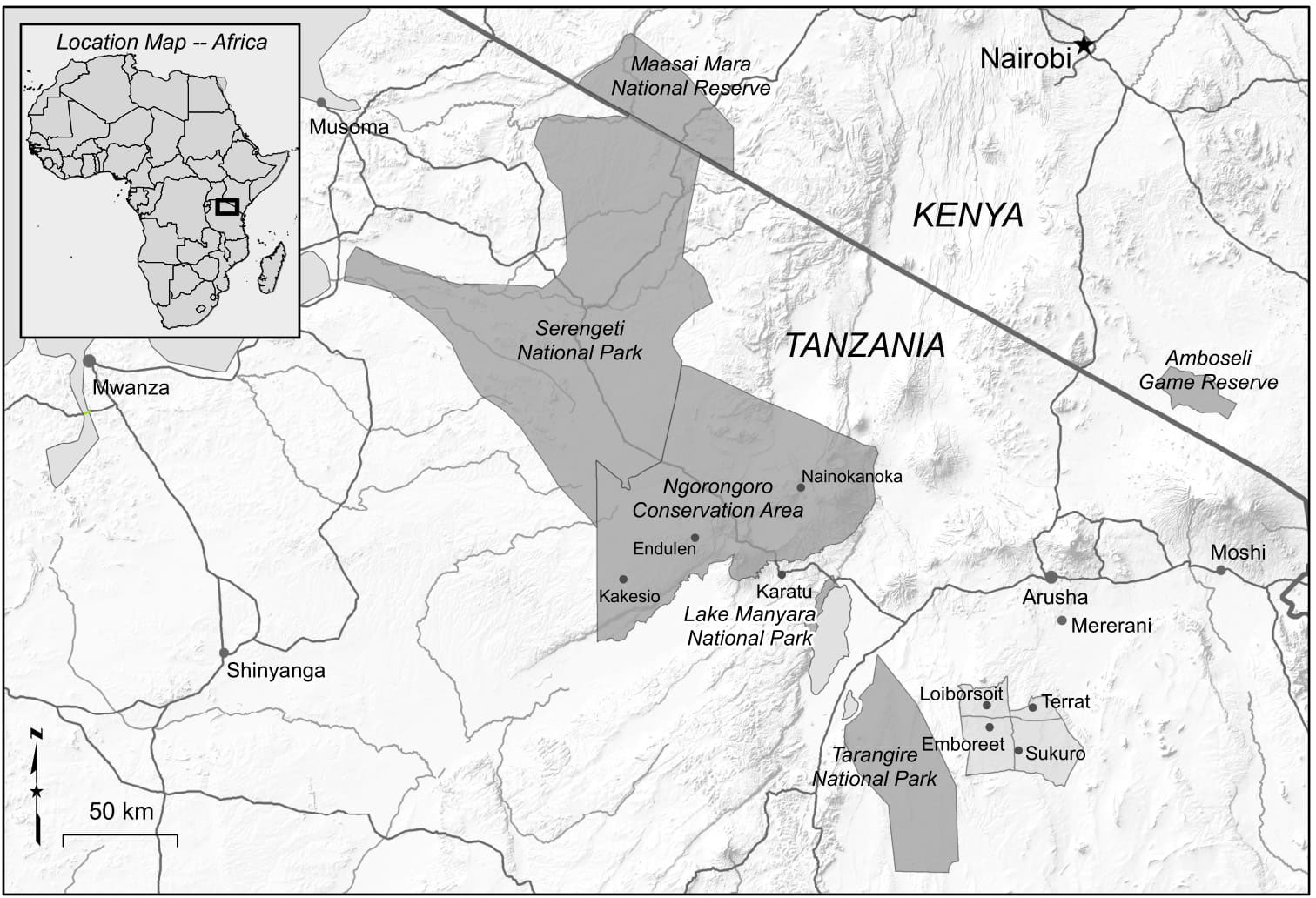 Fig  1  Map of study villages in northern Tanzania