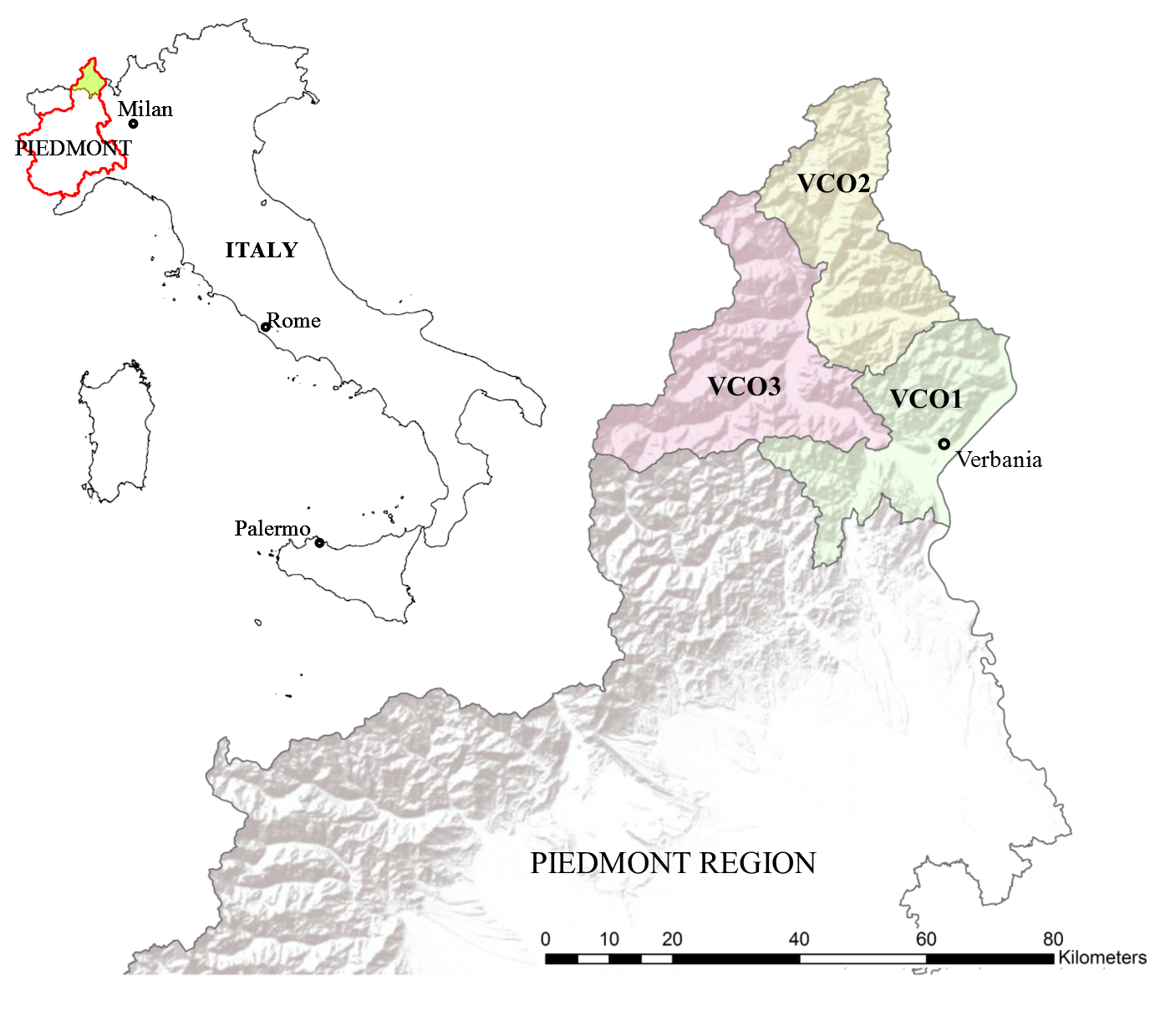 Fig. 1. Map of Italy, showing the Piedmont region and ...